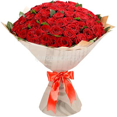101 Kırmızı (Red Naomi) güllerden oluşan  Buket