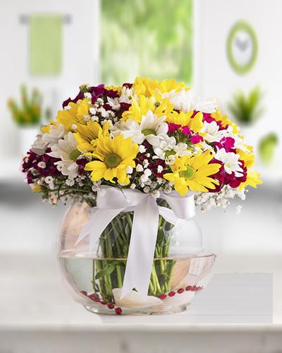 Fanus içerisinde Renkli Kır çiçekleri